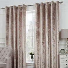 Crushed Velvet Pair Of Eyelet Lined Curtains