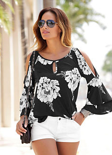 ecb5ba26ef1c Trumpet Sleeve Floral Beach Top by LASCANA