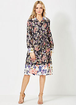 FRENCH CONNECTION BLACK FLORAL TEA DRESS SIZE 4-14 NEW £60 JERSEY