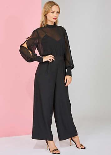 1ba778ce074 Chiffon Top Split Sleeve Jumpsuit by Warehouse