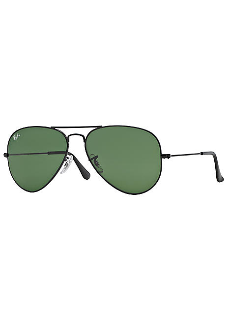 7d38925a3219 Aviator Black Frame Grey-Green Lens Sunglasses by Ray-Ban