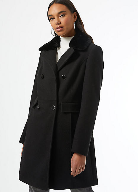 Black Faux Fur Collar Dolly Coat By, Ladies Black Fur Coat Dorothy Perkins