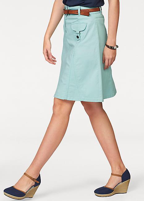 bb47716133acf Flared Denim Skirt by Cheer