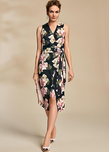 c16f016d77 Floral Print Crepe Wrap Dress by Kaleidoscope