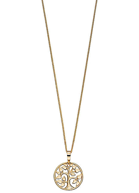 Gold 9ct Yellow Gold Tree Of Life Pendant Necklace By Elements By