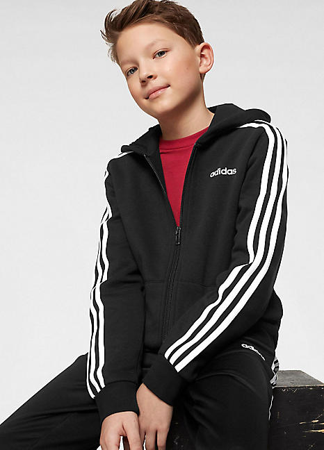 ADIDAS SPORT ESSENTIALS 3 Stripe Zip Hoodie Top Jacket Size