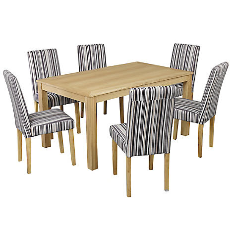 Linden Oak Stain Ash Veneer Dining Table 6 Lorenzo Striped Fabric Dining Chairs Look Again