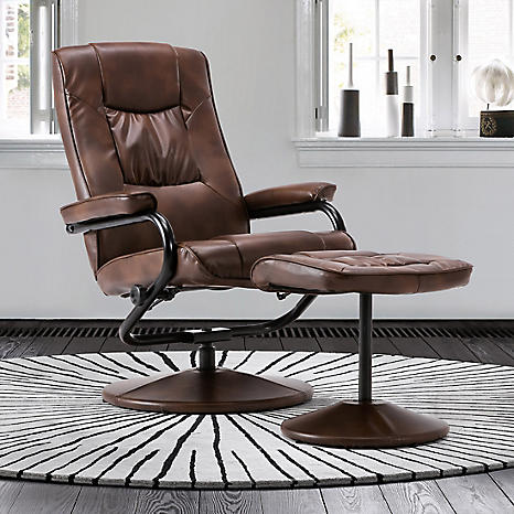 Memphis Faux Leather Swivel Recliner Chair & Footstool by Birlea