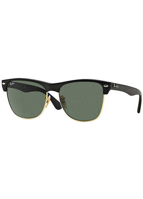 9179a293d Men's Clubmaster Black Frame Crystal Green Lens Sunglasses by Ray-Ban |  Look Again