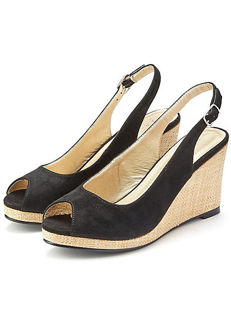 open toe wedge heel sandals