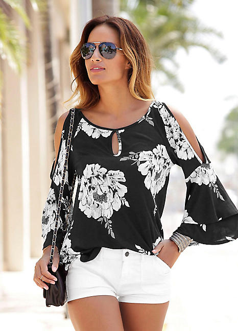 dd1be84231318 Trumpet Sleeve Floral Beach Top by LASCANA | Look Again
