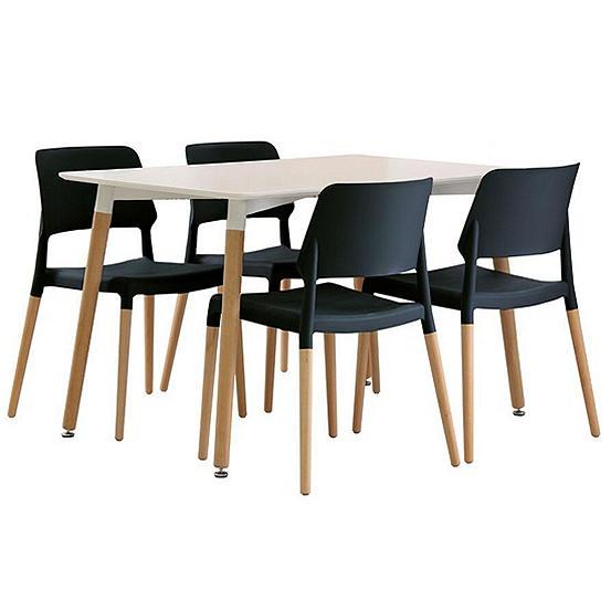 Peachy Fraser White Beech Dining Table 4 Riva Plastic Beech Dining Chairs Customarchery Wood Chair Design Ideas Customarcherynet