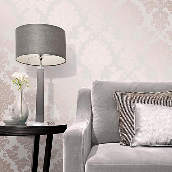 Quartz Damask Rose Gold Wallpaper