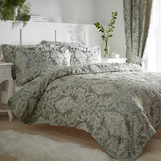 Regency Damask Jacquard Sage Duvet Set, Damask Jacquard Bedding