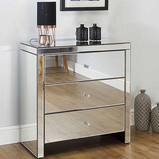 buy popular b10fe 01753 Seville Mirrored 3 Drawer Wide Bedside Chest by Birlea